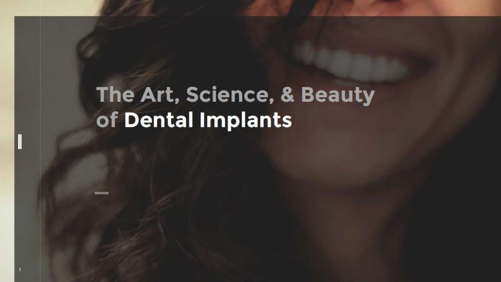 "Our dental implant ebook cover, a woman's lower face expressing a smile, with ""The Art, Science,& Beauty of Dental Implants"""